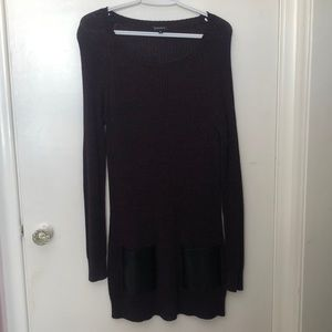 Sweater dress with leather front pockets
